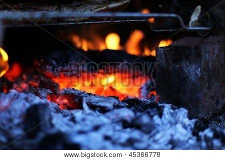 Closeup Of The Burning Charcoal