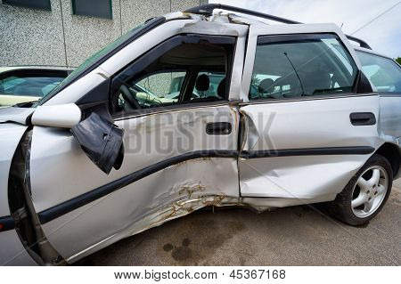 Car crash, insurance concept