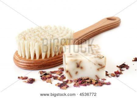 Bath Brush And Rose Soap