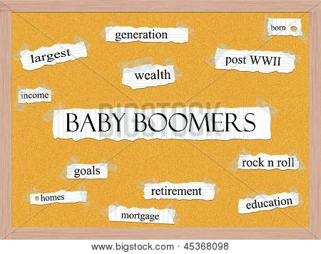 Baby Boomers Corkboard Word Concept