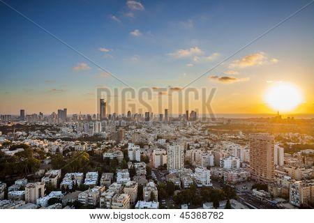 Tel Aviv and Ramat Gan Skyline at sunset poster