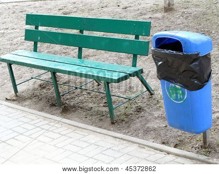 Blue Pastic Garbage Bin Or Can On Street