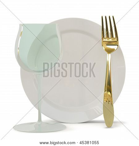 Fougeres, A Fork And A Plate.