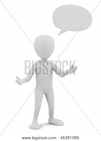 3D Small Person With Empty Chat Bubble.