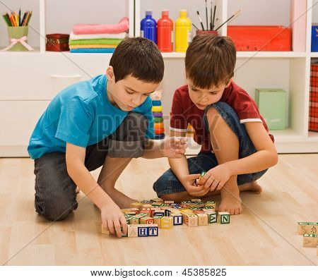 Boys Playing With Blocks