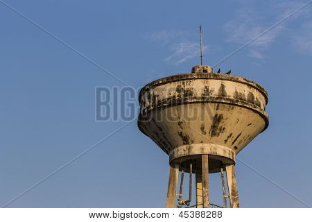 Blue Sky With Thai Water Tank