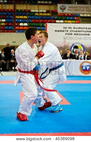 MOSCOW - JUN 9: Fighting episode between male participants of 10th Team Championship of Europe on karate at OC Luzhniki, Small sports arena, June 9, 2012, Moscow, Russia.