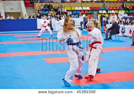 MOSCOW - JUN 9: Female fighters compete in fight at 10th Team Championship of Europe on karate at Olympi Comlex Luzhniki, Small sports arena, June 9, 2012, Moscow, Russia.