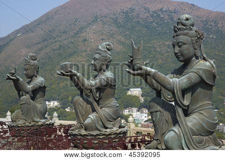 Buddha statues at Po Lin Buddhist Monastery located on Ngong Ping Plateau on Lantau Island, Hong Kong, China poster