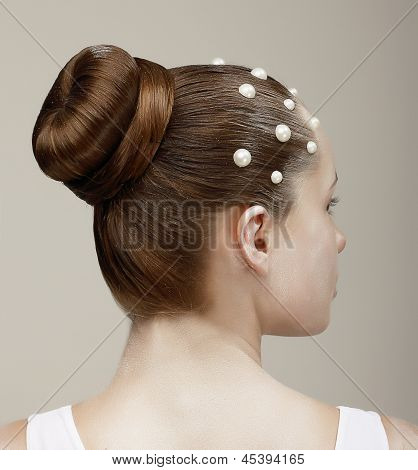 Styling. Woman's Head - Modish Festive Coiffure with Pearls poster