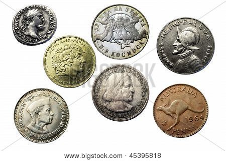 Seven Coins Of Different Times And Countries