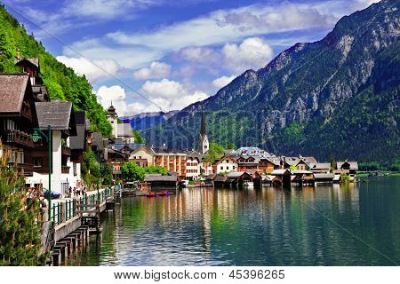 Hallstatt - small scenic village in Alps, Austria