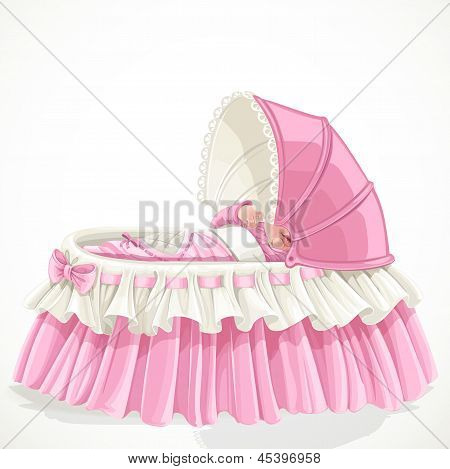 Baby in pink cradle isolated on white background