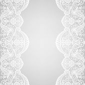 Wedding invitation or greeting card with lace border poster
