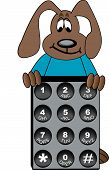 dog cartoon standing behind phone number key pad - vector poster