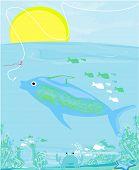 fish and hook on ocean landscape , vector illustration poster