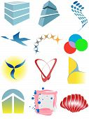 A varied set of colorful design elements or icons. poster