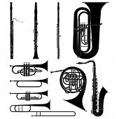 Layered vector illustration of collected Wind Instruments. poster