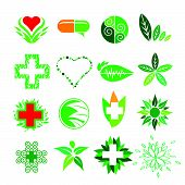 Collection of vector design of stylized symbols of Medicine and Pharmacy poster