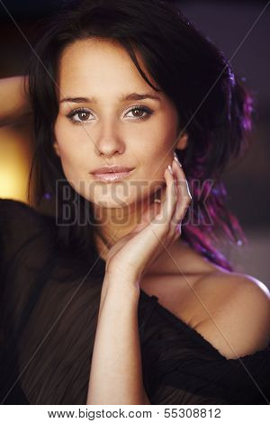 Portrait Of Natural Brunette Girl