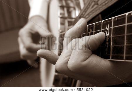 Sepia Banjo Picking
