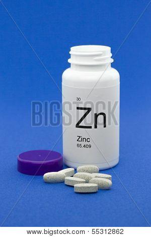 Open bottle of Zinc vitamins
