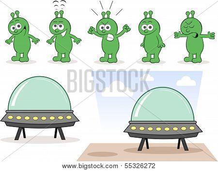 Alien Set With Spaceship