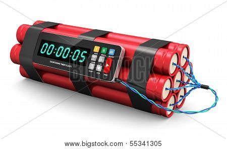 TNT time bomb explosive with digital countdown timer clock isolated on white background poster