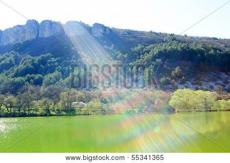 Ray Of Sunshine From The Mountain Lake. Mangup-kale, Crimea, Ukraine