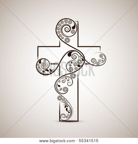 Merry Christmas and Happy New Year 2014 celebration concept with stylish Christian Cross on abstract background.