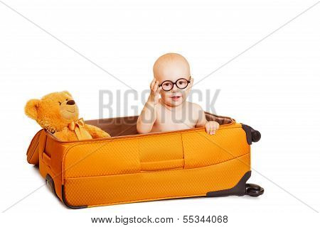 The Little Boy ?????? In A Suitcase It's Isolated On White