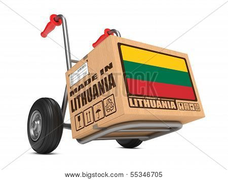 Made in Lithuania - Cardboard Box on Hand Truck.