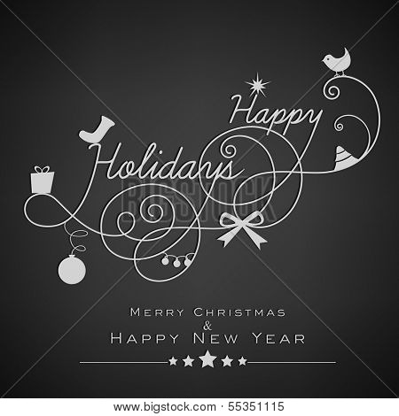 Stylish Happy Holidays text, Merry Christmas and Happy New Year 2014 celebration greeting card or invitation card.