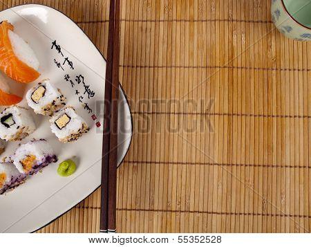 Fresh Sushi And Sashimi On A Plate