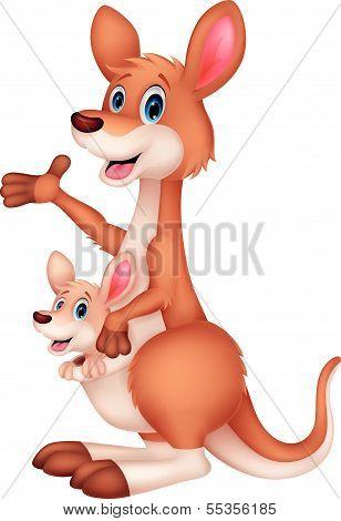 Mother and baby kangaroo cartoon