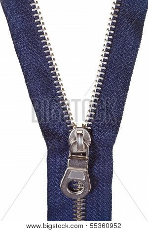 Metallic Blue Zip Fastener Close Up