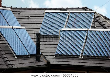 Six Solar Thermal Tubes On Rooftop