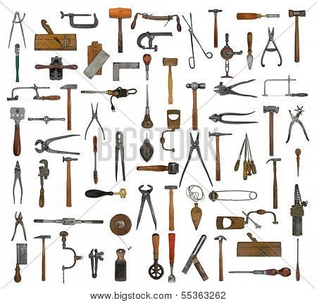 vintage collectible tools collage over white background