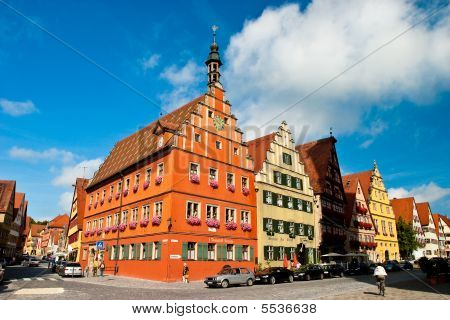 Colorful  Street View Of Dinkelsbühl Germany