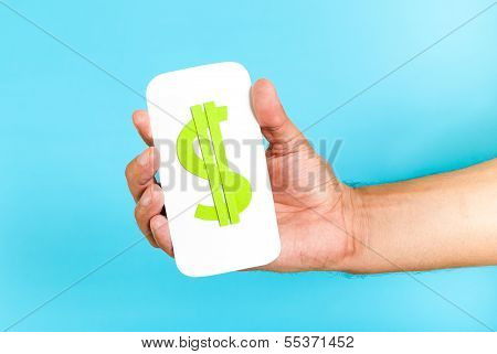 Mobile Phone Market Concept. Hand holding a cellphone with a money sign