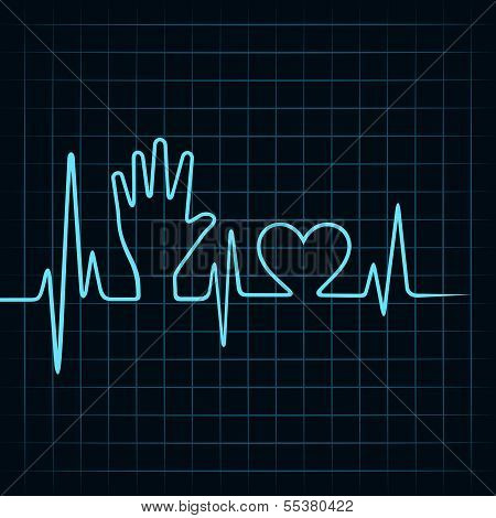 Heartbeat make helping hand and heart