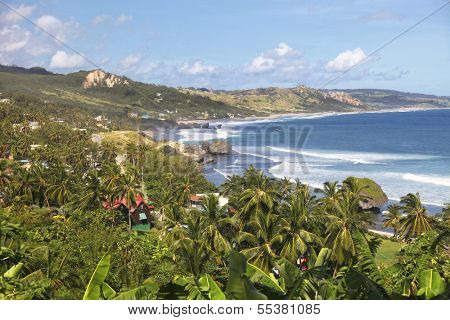 The great surfer beach a Bathsheba, on the Atlantic side of Barbados.