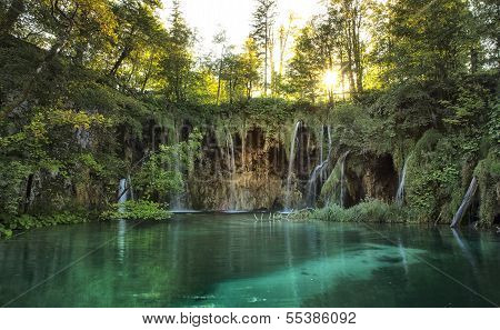 Amazing Waterfall Lagoon In Plitvice Lakes National Park