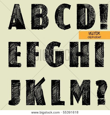 art sketched set of vector character simple font, uppercase symbols, part 1
