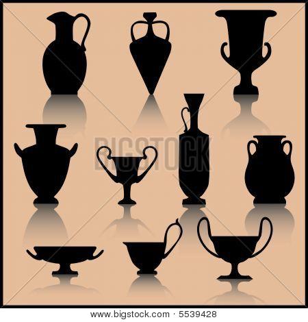 Set Of Ancient Ceramics Silhouette