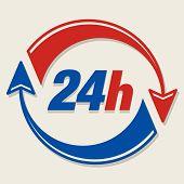 24 hours sign for your design, vector illustration poster