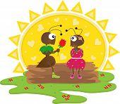 Cute cartoon ants in a romantic scene. Eps10 poster