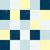 Checked retro grunge background in blue and yellow. Vector illustration. poster