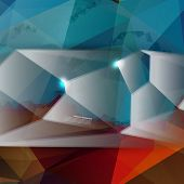 Vector abstract background. Polygon blue and card geometric poster