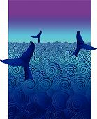 Three whales diving in an ocean of curling waves poster